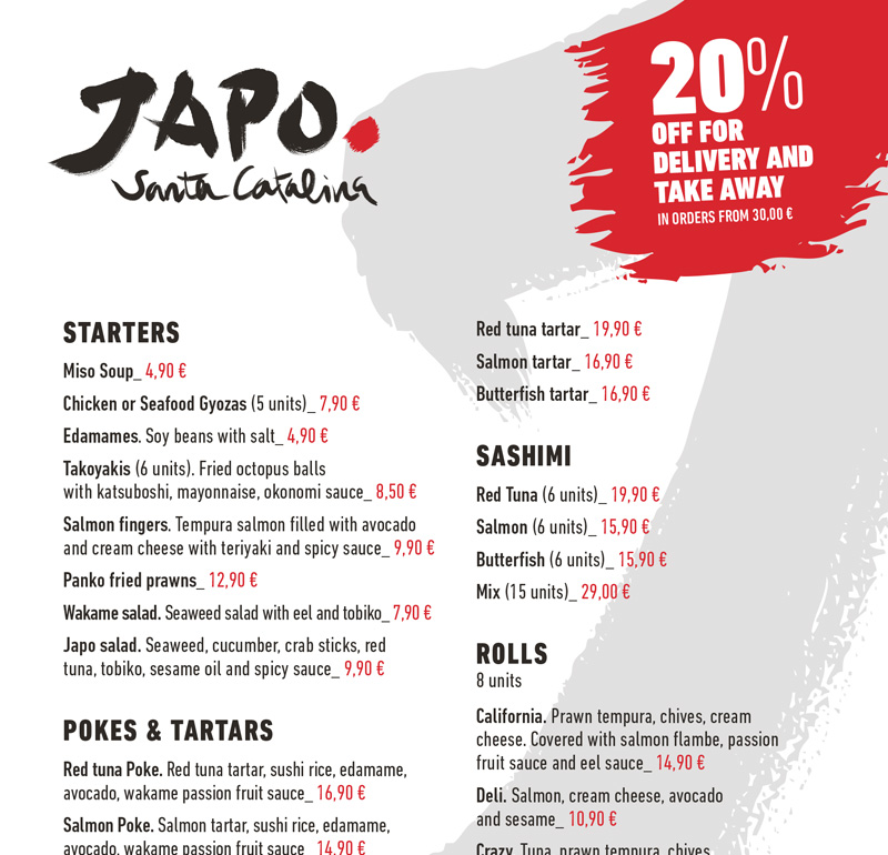 delivery menu JAPO Santa Catalina english
